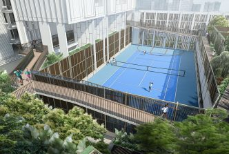 Tennis court,  outdoor fitness stations  and a 150-meter elevated  jogging track.