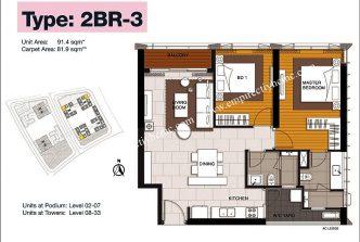 2 bedrooms 3