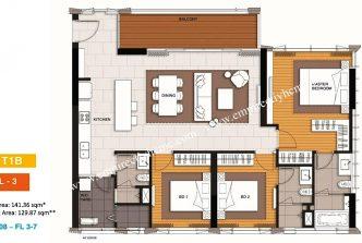 3 bedrooms T1B