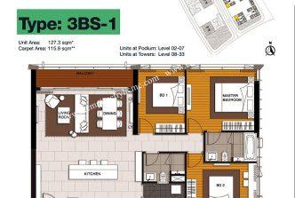 3 bedrooms 1
