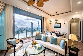 Full river view apartment in Empire City for rent with luxurious furniture